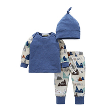 Cute 3PCS Set Newborn Baby Boy Girl Clothes Small Hill Letters Printing Bodysuit Tops Long Pants Hat Outfits 0-18M