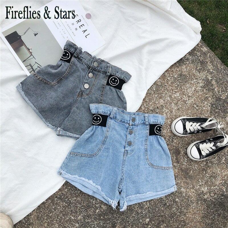 Spring Summer girls jeans baby denim shorts kids hot shorts children streetwear bud high waist letter print snaps 2 to 9 yrs