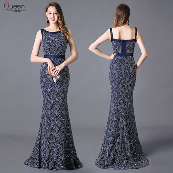 Sweep Train Lace Evening Dresses Long Mermaid Scoop Sleeveless Zipper-Up Elegant Party Gown With Sequin Plus Size Robe De Soiree