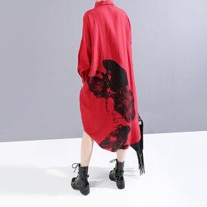 Image 5 - * חדש 2019 קוריאני נשים חורף אדום מודפס חולצה שמלה מלא שרוול דש גבירותיי באורך הברך מקרית שמלת Midi סגנון חלוק 5818