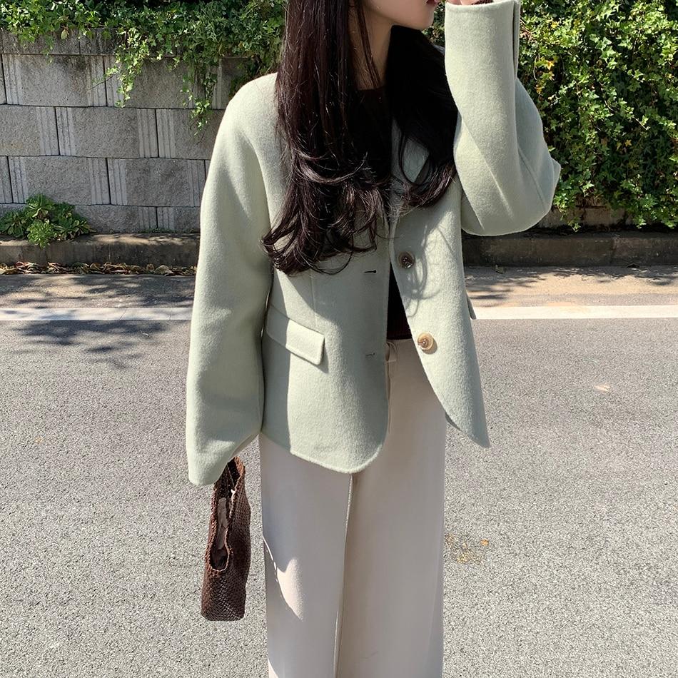 Hedec2d54844844f0a7f15608566f8aa4p - Winter Korean Revers Collar Solid Woolen Short Coat