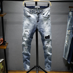Summer Men'S Wear with Holes Jeans Loose-Fit Trend Trousers Men Straight Slim Beggar Skinny Pants 719