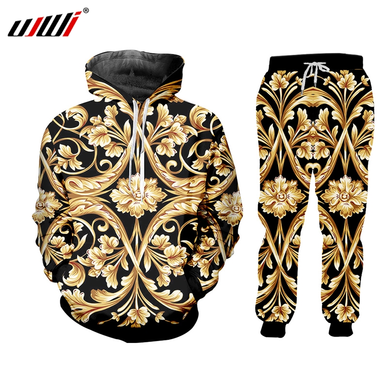 UJWI Brand 3D Print Men Two Piece Set Gold Flower Luxury Royal Baroque Tracksuit Jacket Sweatsuit Sweatshirt Hoodies Sports