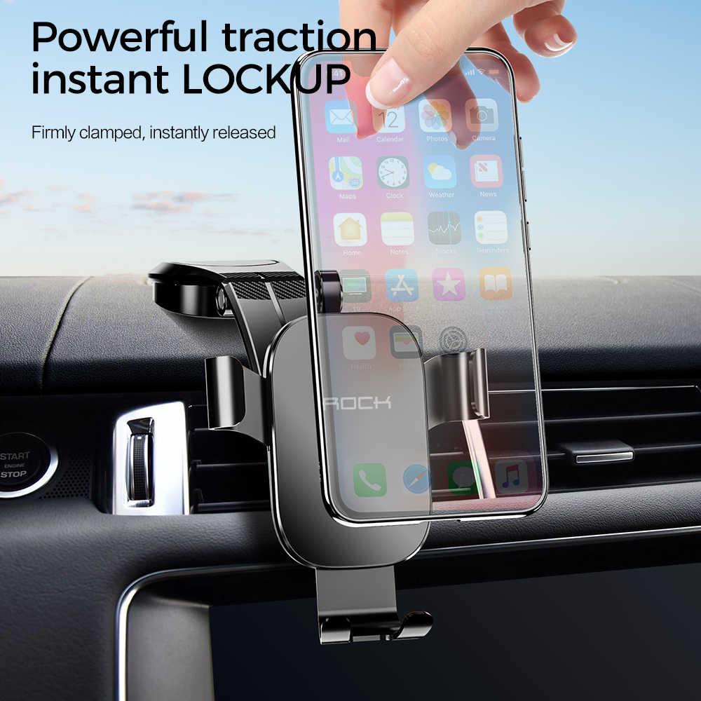 Soporte plegable de ROCK para teléfono de coche para iPhone X XS Samsung Huawei gravedad tablero pegar soporte de teléfono móvil Universal Smartphone