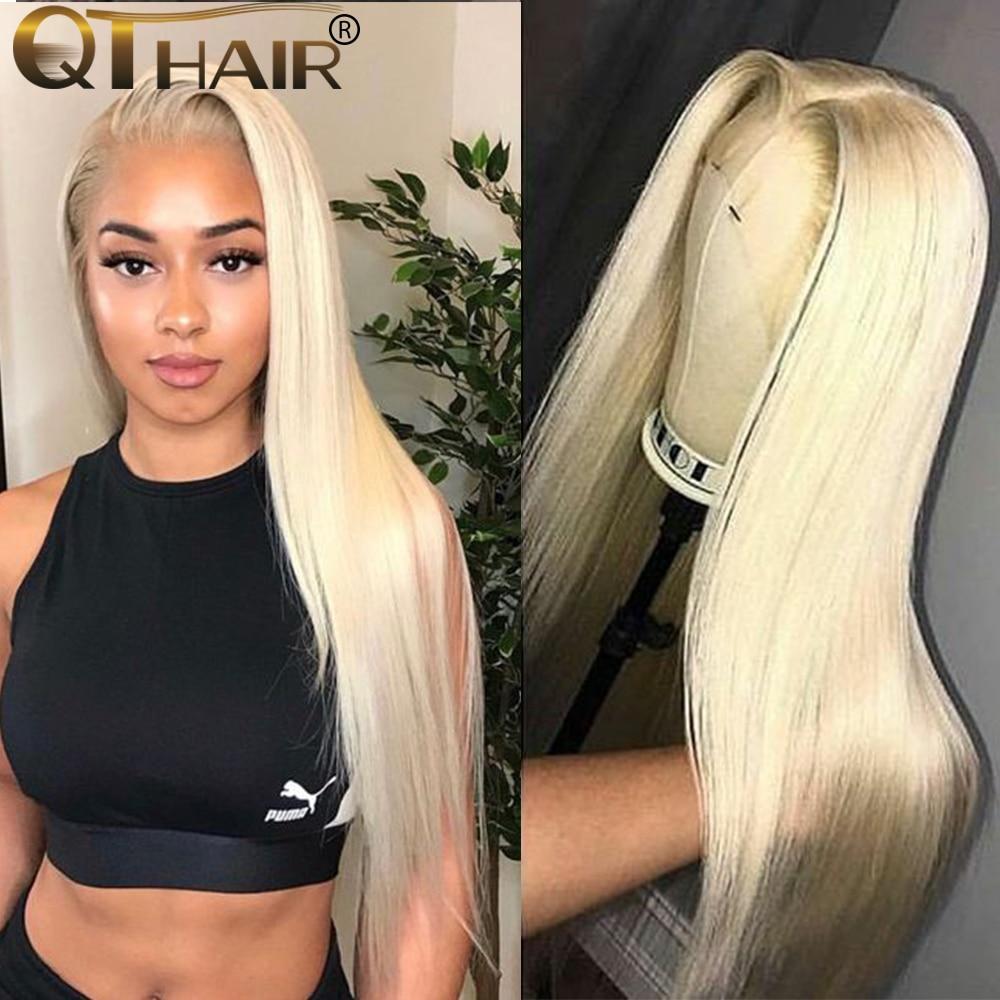 613 Honey Blonde Wigs 180% Brazilian Straight Lace Front Human Hair Wigs Blonde Human Hair Wig Remy QT Hair