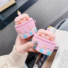3D Cartoon Cake Pig Soft Silicone Earphone Headset Case For Airpods Pro 3 Protective cover for airpods 1 2 cute Bluetooth coque