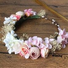 Eternal flower headband women adult girl bride props wedding festive party supplies Artificial Hawaii Flowers Garland props цена и фото