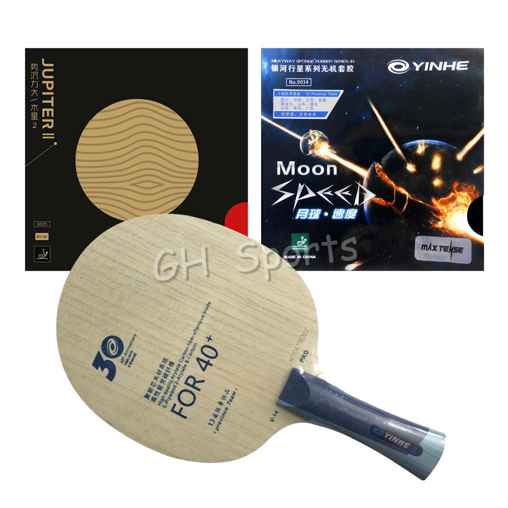 Pro Combo Racket  Yinhe Pro V14 V-14 Table Tennis Blade With JUPITER II  And  Moon SPEED  Rubbers