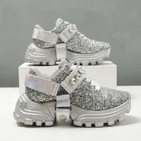 Womens Sequins Bling Sliver Crystal Diamond Sneakers Lace Up Platform Hoof High Heel Genuine Leather Belt Buckle Shoes Luxury