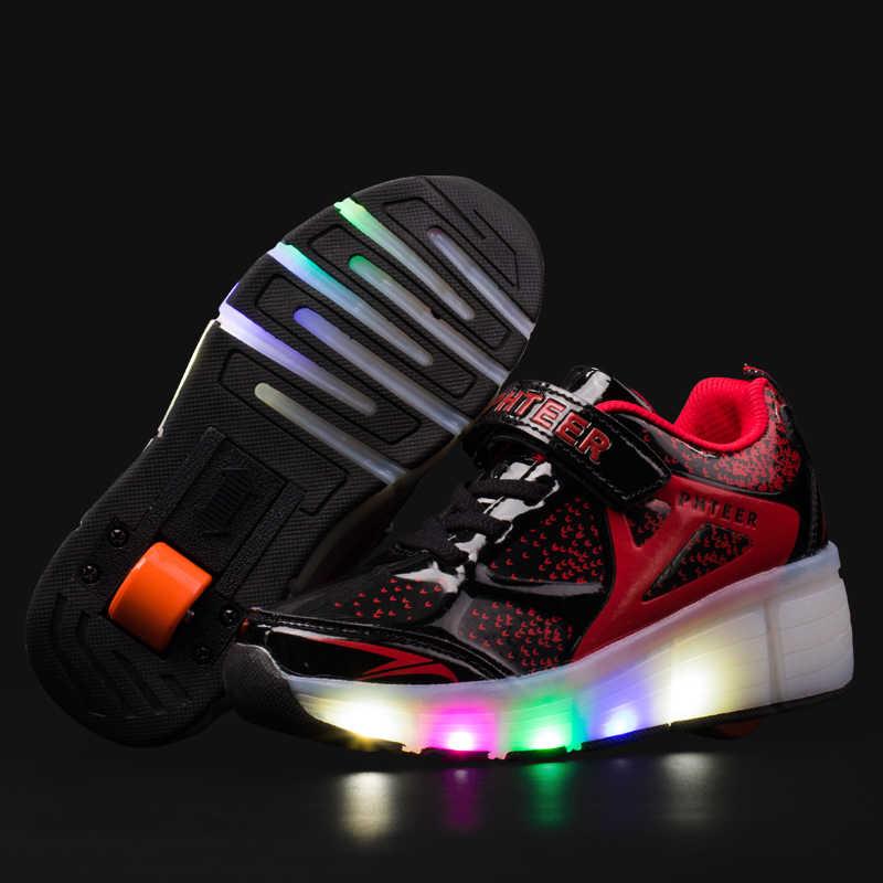 2019 Sneakers Kids Sneakers met Wielen Roller Skate Schoenen Kinderen Gloeiende Sneakers Led Light up Schoenen voor Jongens Meisjes