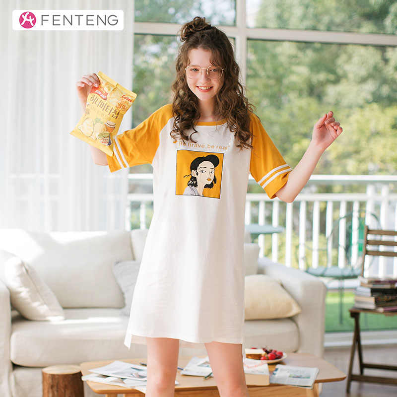FENTENG קיץ פיג 'מה נשים הלבשת כותנה טלאי הלבשת שמלת מודפס נוח נשי Homewear בית שמלת X98020213