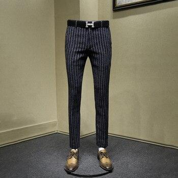 men pants deep blue stripe streetwear young man office business fashion slim smart causal mens trousers 30-36