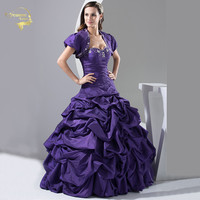A Line Sweetheart Ball Gown With Bolero Beading Taffeta 2019 Quinceanera Dresses 15 Years Purple Vestidos De Quinceanera OQ3389