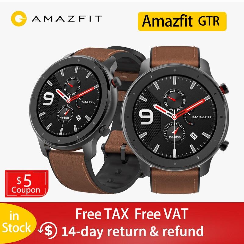 Смарт-часы Amazfit GTR, 47 мм, Xiaomi Huami 5ATM, водонепроницаемые спортивные Смарт-часы, 24 дня, батарея, управление музыкой, с gps, пульсометр