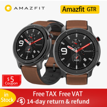 Amazfit GTR 47mm Smart Watch Xiaomi Huami 5ATM Waterproof Sports Smartwatch 24 Days Battery Music Control With GPS Heart Rate global version huami amazfit gtr 42mm smart watch 5atm smartwatch 12days battery gps music control for xiaomi android ios