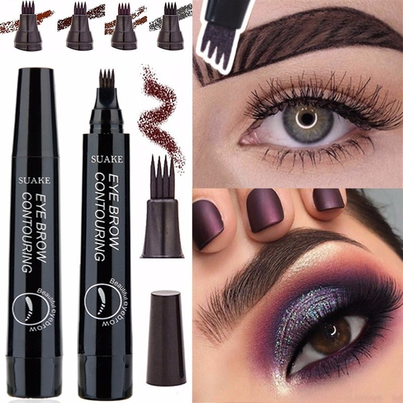 4 Colors 3D Microblading Eyebrow Tattoo Pen 4 Fork Tips Fine Sketch Liquid Eyebrow Pencil Waterproof Eyebrow Tint Makeup Eyebrow