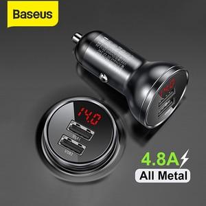 Image 1 - Baseus المعادن شاحن سيارة 5 فولت 4.8A المزدوج USB شاحن مع LED عرض العالمي الهاتف المحمول شاحن آيفون هواوي شاومي