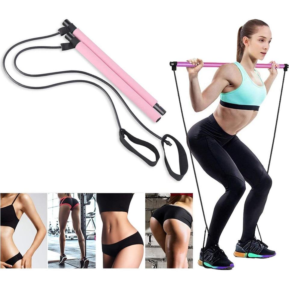 US $40.40 40% OFFYoga Exercise Resistance Bands Pilates Stick Fitness  Elastic Pull Rope Kit Home Gym Leg Bodybuilding Muscle Training  EquipmentYoga