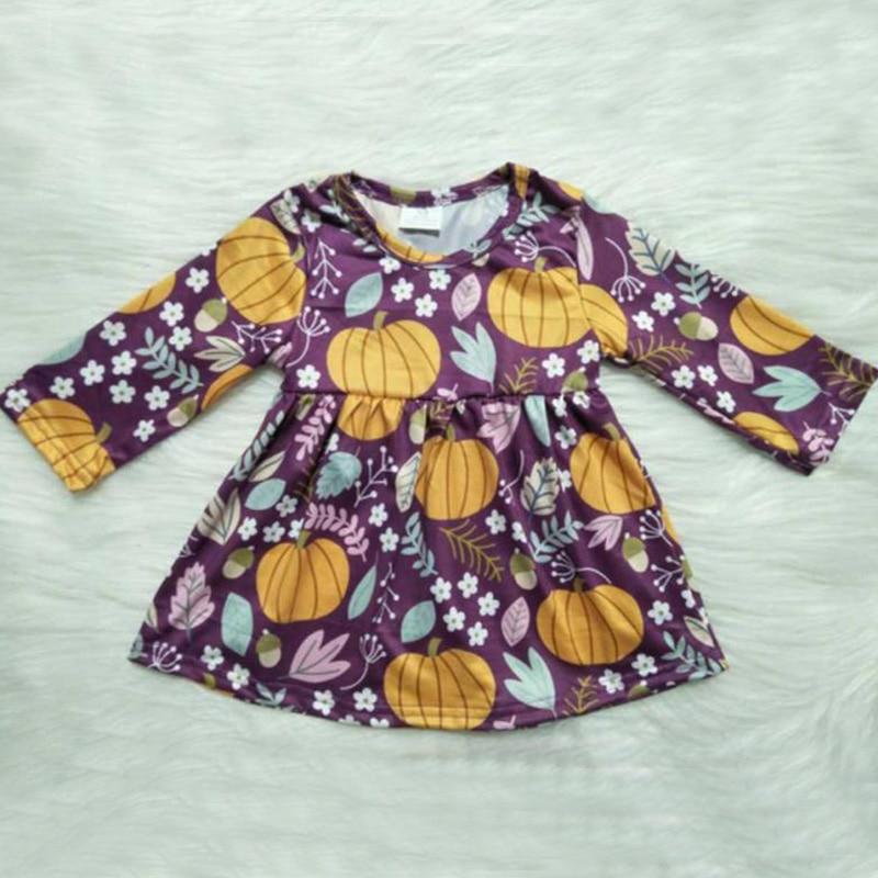 Vestidos Da Menina Do Bebê do outono Manga Longa do Dia Das Bruxas Abóbora Casual Dress & Saia Vestidos de Festa Da Princesa Newborn Costume