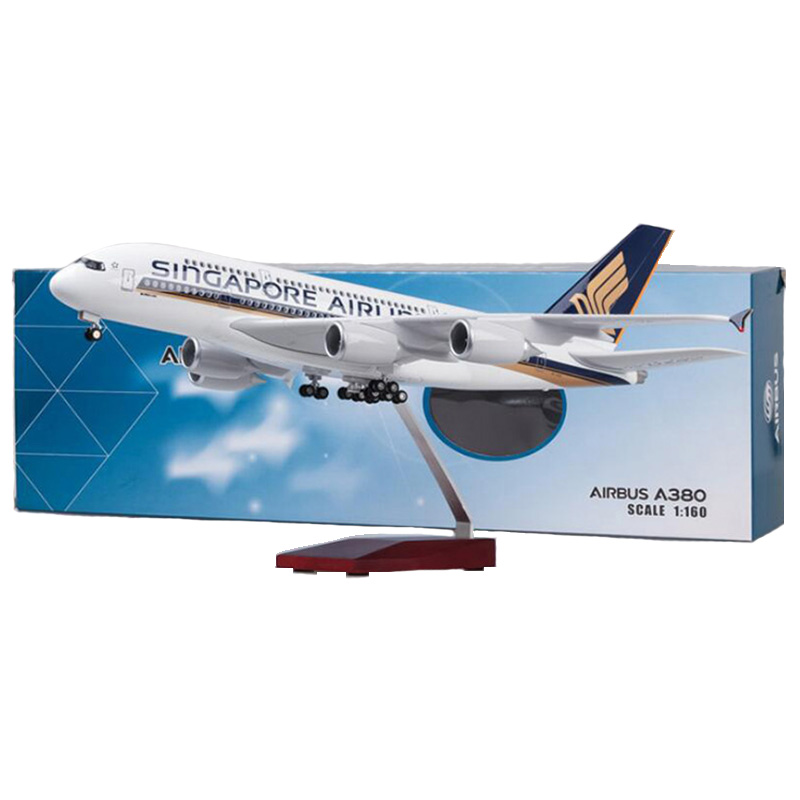 1/160 50.5CM Airbus A380 Singapore Airline plane model alloy base W landing gear & light airplane toys fixed wing aircraft gifts
