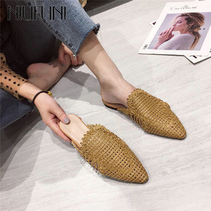 NIUFUNI New Style Women Slippers Rattan Knit Casual Sandals Indoor Floor Shoes Home Mules Pointed Toe Flat Shoes Woman 2020(China)