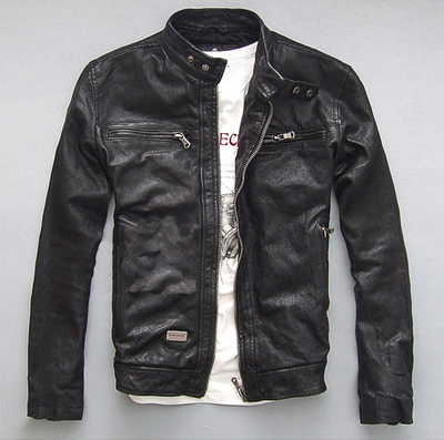 Genuine Leather Jacket Men Real GoatSkin Leather Bomber Jackets Spring Autumn Plus Size Motocycle Outwear 2020 MF039
