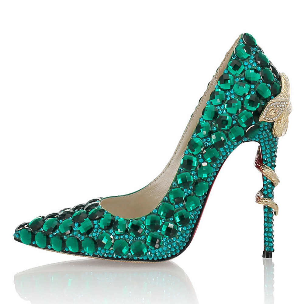 High-Qualit Toe Crystal High Heels Shoes Rhinestone Ladies Pumps Bridal Wedding Cocktail Shoes Snake Shaped Metal Decoration-BeeInFly