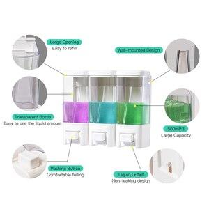 Image 4 - SVAVO 500ml*3 Wall Mounted Triple Soap Dispenser Large capacity Liquid Soap Dispenser Hand Pressing Manual Soap Dispenser