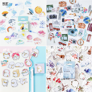 45 pcs/Box Various Stickers Diary Kawaii Cute Planner Journal Scrapbooking Paper Stickers Stationery School Supplies 1