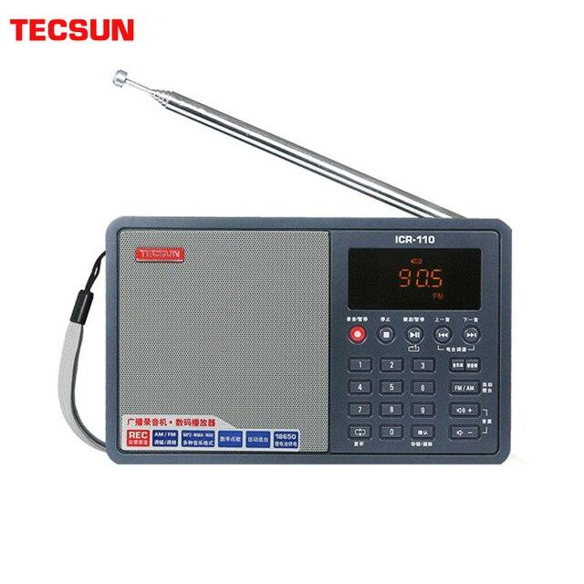 Tecsun ICR 110 радио FM/AM MP3 плеер Диктофон для пожилых людей цифровой аудио переносной полупроводник звуковая коробка Поддержка TF карта бесплатная доставка