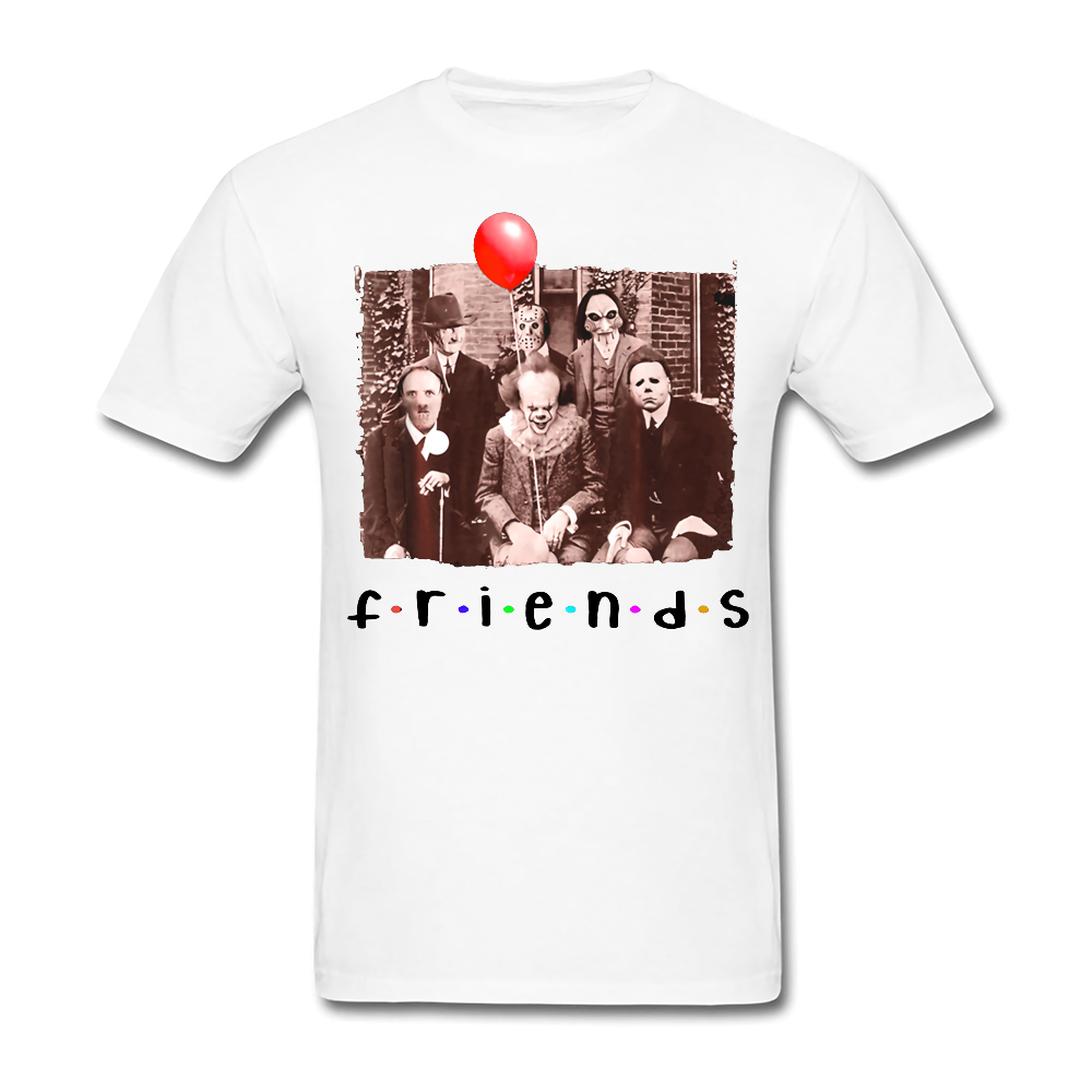 Friends Halloween Horror Team Scary Movies IT Spooky Clown Jason Black T-Shirt