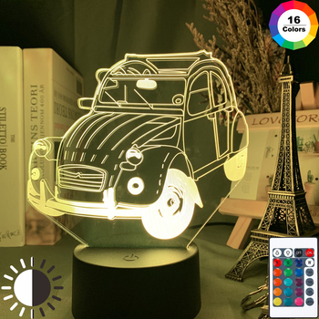 Винтаж автомобиль 2cv 3d иллюзия светодиодный Ночной светильник для украшения дома детская Спальня взрослых офисный Декор Светильник крутая Классическая автомобиля 3d лампа
