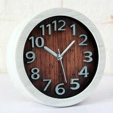 Classic Wooden Clock, Silent Desk & Table Alarm Clock with Nightlight, Bedside Clock,Classic Vintage