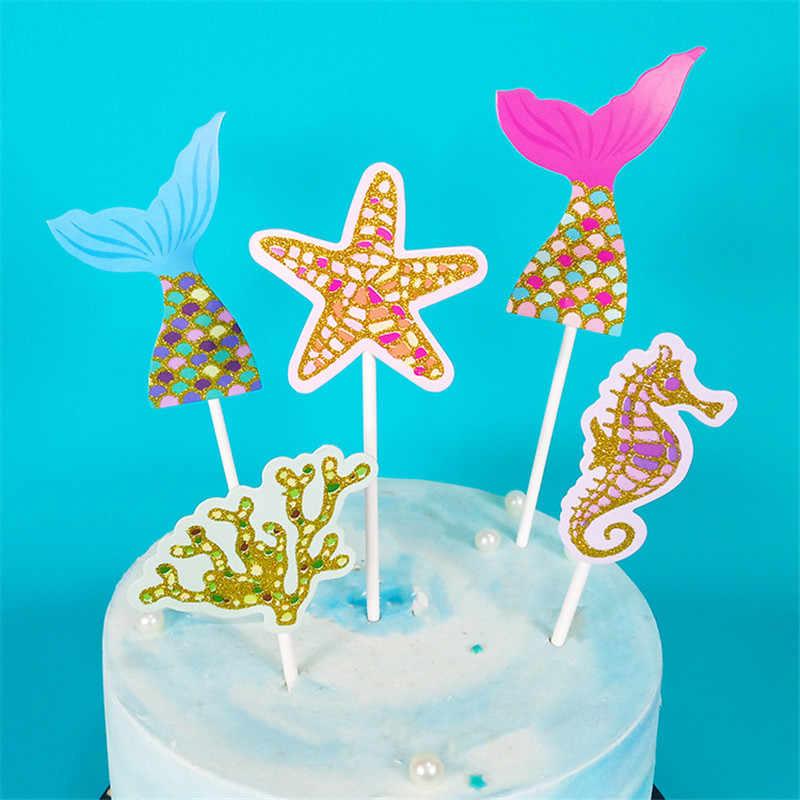 Cakelove Biling Emas Perak Bintang Fishtail Shell Starfish Kuda Laut Putri Duyung Puncak Kue untuk Pesta Dekorasi Makanan Penutup Yang Indah