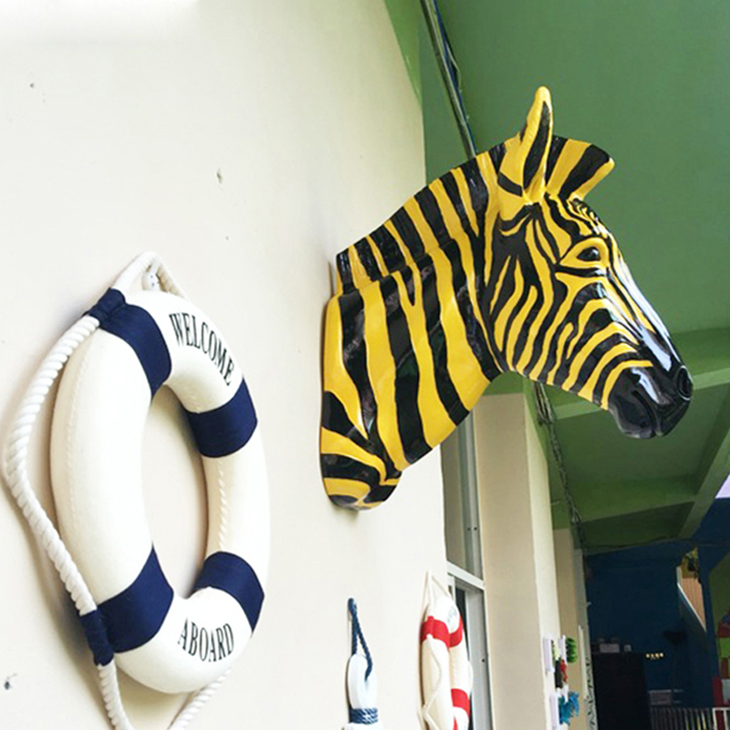 Wall Decoration Sculpture Zebra Head Statue Home Decoration Accessories Resin Animal Statue model Doll Craft Christmas gift