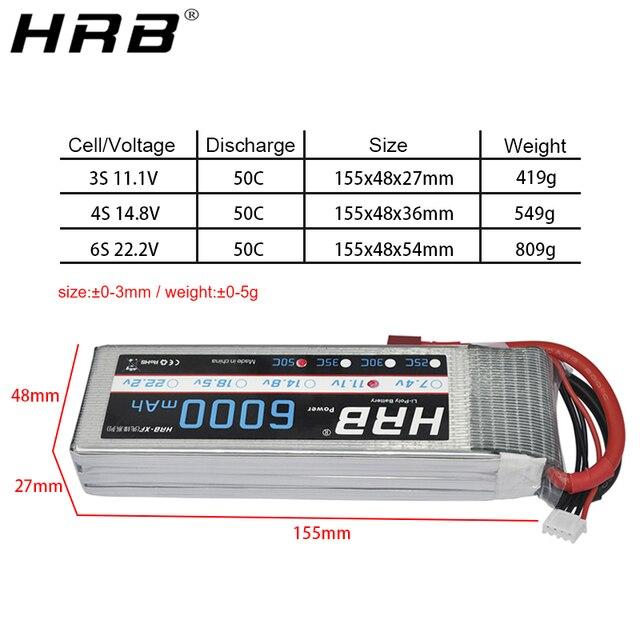 HRB 6000mah Lipo batterie 3S 11.1V 4S 14.8V 50C 6S 22.2V RC pièces Deans XT60 T XT90 pour Traxxas Xmaxx camion chenille voiture avions