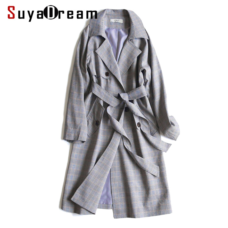 SuyaDream Women Cotton Long   Trench   Belted Waisted Double Breasted Plaid   Trench   coat 2019 Autumn Winter Coat