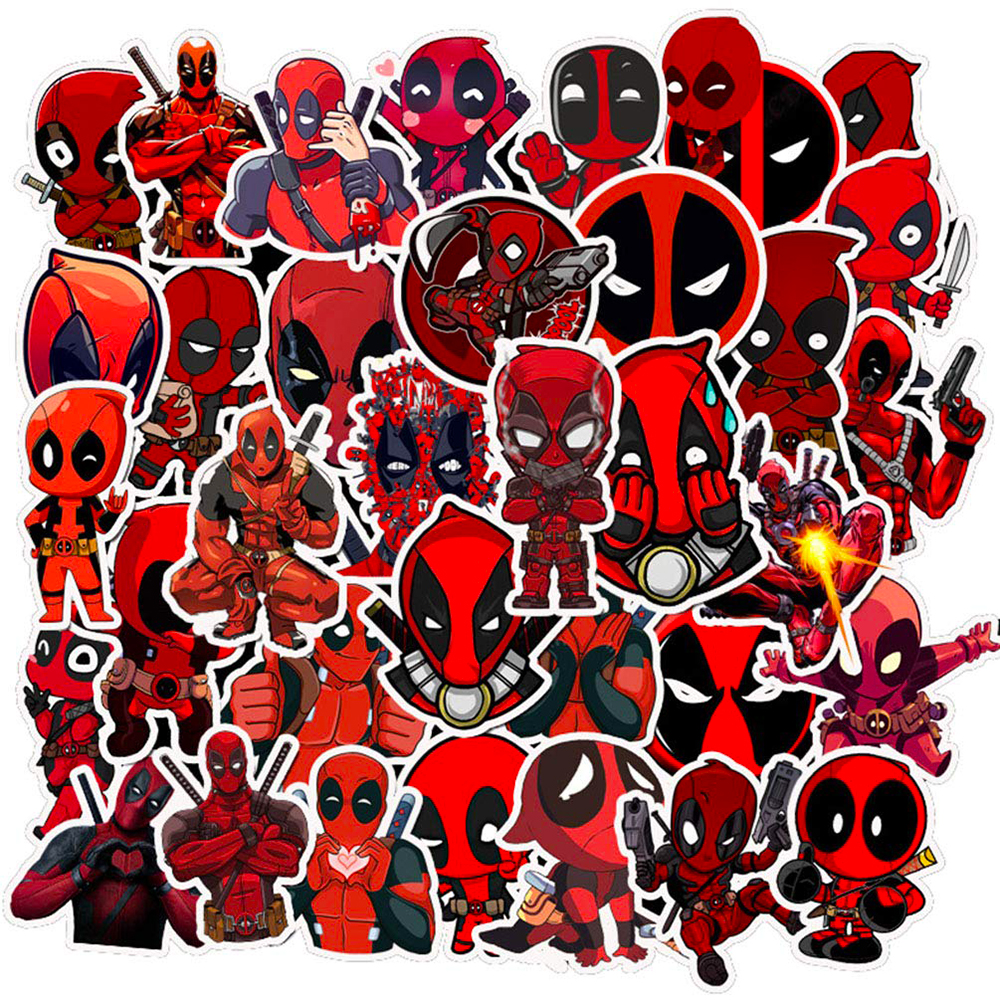 35PCS Deadpool Marvel Hero Cartoon Stickers Car Motorcycle Travel Luggage Phone Guitar Laptop Waterproof Joke Toy Decal Sticker