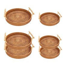 NEW-2 Pack Handmade Rattan Round Woven Basket, Serving Tray with Handles, Perfect for Display Bread or Fruit(China)