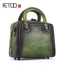 AETOO The first layer of leather fashion solid color handbag new cabinet hand-colored portable diagonal handbags original bag