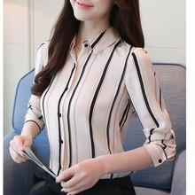 Korean Fashion Chiffon Women Blouses Long Sleeve Stripe Shirts Plus Size XXL Blusas Femininas Elegante Ladies Tops