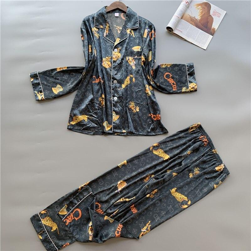 Fashion Men's Pajamas Set пижамы Silk Printing Sleepwear Simulation Silk Pyjamas Set Cardigan Long Sleeve Pants Home Clothing