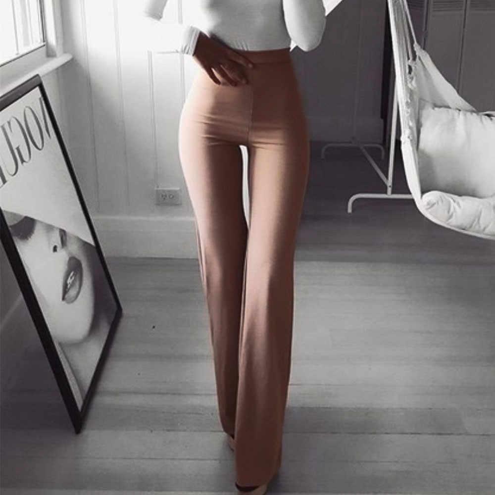 סקסי נשים גבוהה מותן מכנסיים נדן מועדון ארוך מכנסיים OL גבירותיי קריירה מוצק Slim התלקחות רחב רגל מכנסיים נקבה הרמון מכנסיים