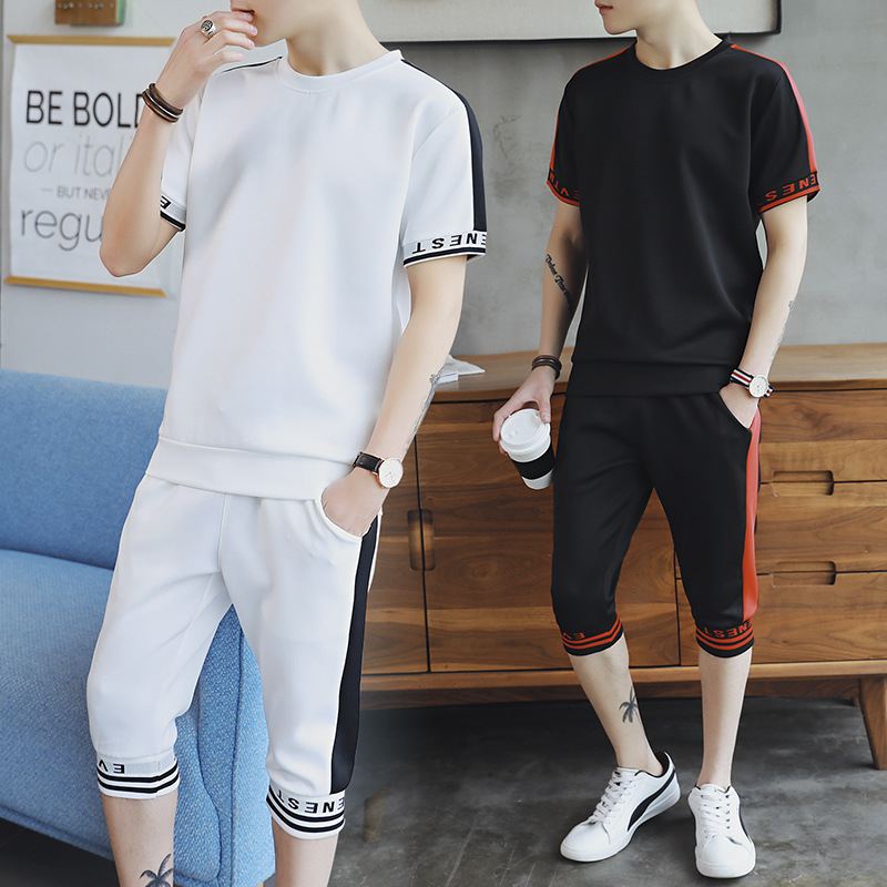 Summer New Style Men's Two-Piece Set Casual Short Sleeve T-shirt Capri Pants Thin Men Daily Life Set Not Hooded