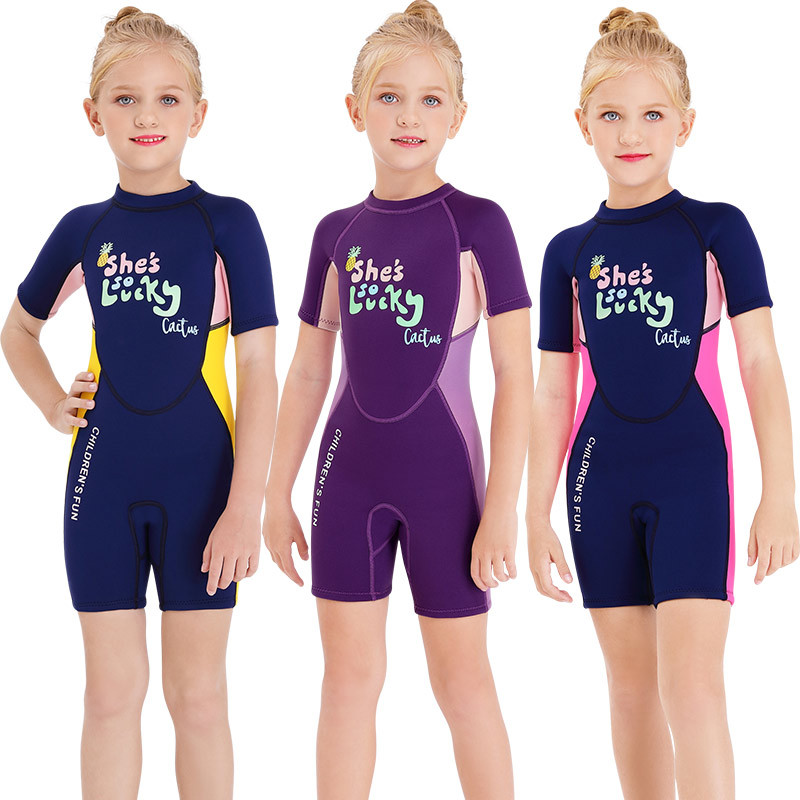 2020 New Style 2.5 Mm KID'S Swimwear One-piece Short Sleeve Swimwear Girls Thick Warm Sun-resistant Surfing Diving Suit
