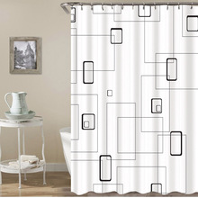 Simple and simple Nordic style polyester printed waterproof shower curtain without punching factory direct sales c20 id waterproof direct factory card