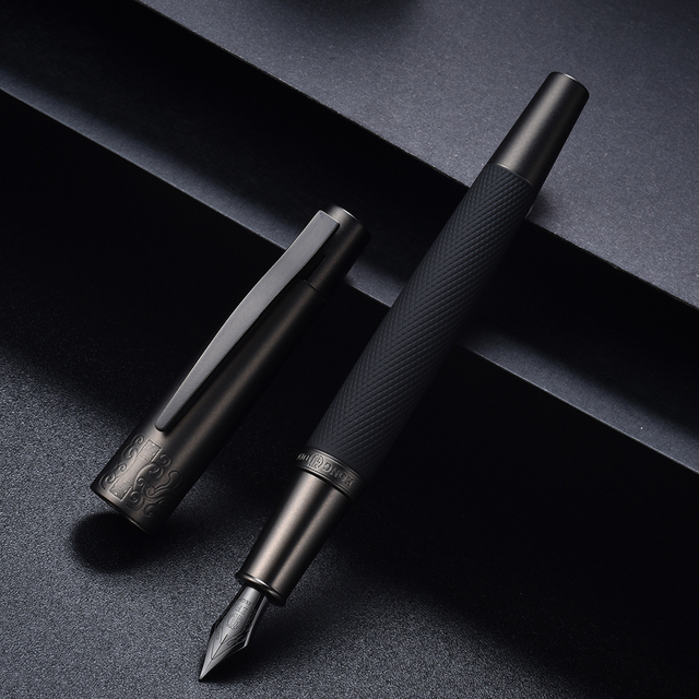 Hongdian 6013 Black Metal Fountain Pen Titanium Black EF/F/Bent Nib Gun-black Pen Cap Clip Excellent Business Office Gift Pen