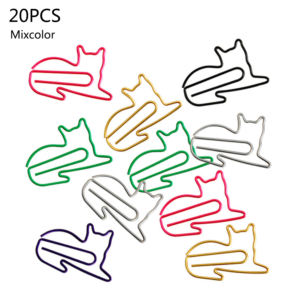 20 Pcs Cute Cat  Styling Paper Clip Creative Animal Shape Bookmark Clips Memo Clip Shaped Clips Office School Supplies