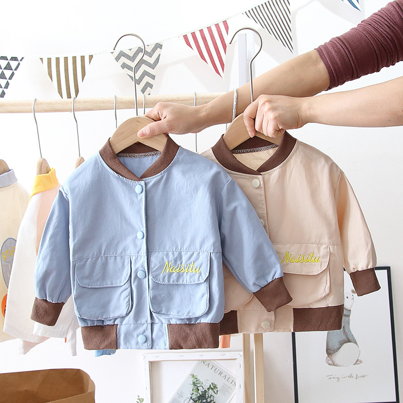 2020 Spring And Autumn BOY'S Children Baby Stereo Bag English Lettered Coat Single Blouse Hoodie