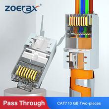 Zoerax rj45 cat7 & cat6a passagem através dos conectores 8p8c 50um ouro chapeado protegido ftp/stp | ez rj45 rede plug modular